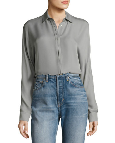 Button-Down Long-Sleeve Blouse