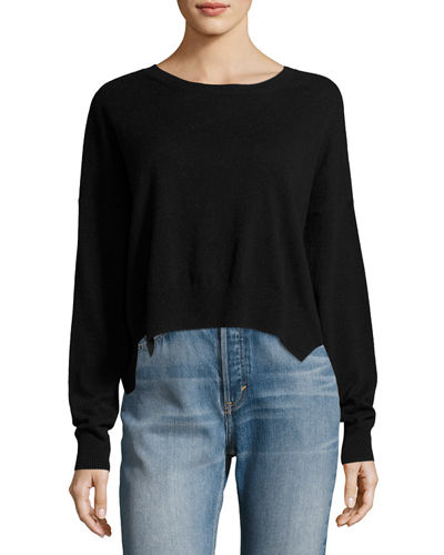 Cropped Wide-Neck Cashmere Sweater