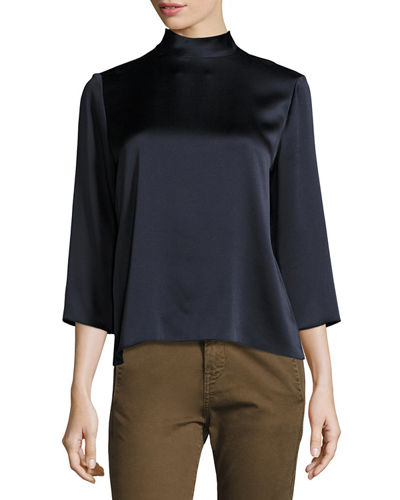 Mock-Neck Silk Blouse