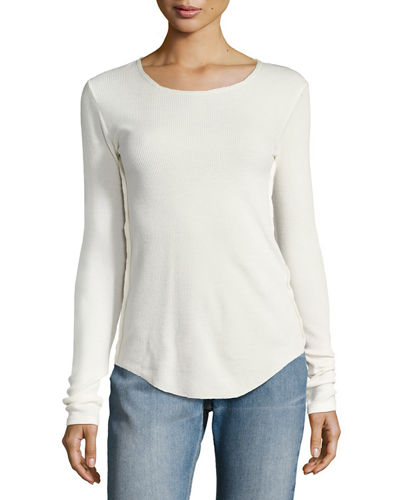 Long-Sleeve Pima Cotton Shirttail Tee