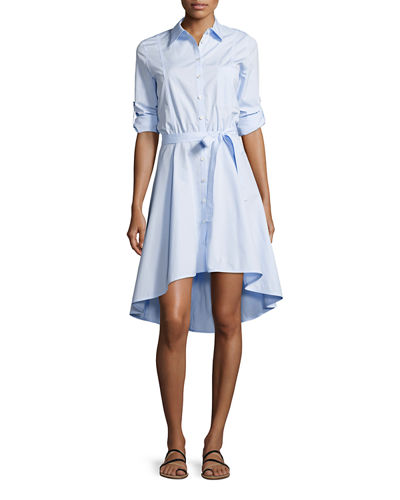 High-Low Cotton Poplin Shirtdress