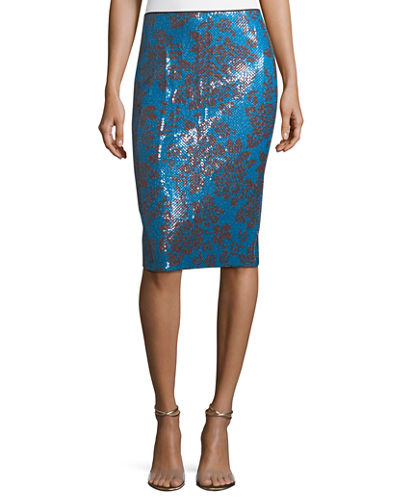 Tailored Floral-Print Pencil Skirt