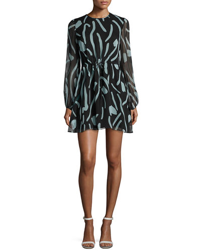Diane von Furstenberg Long-Sleeve Crewneck Silk Mini Dress