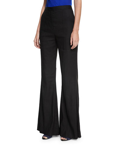 Diane von Furstenberg High-Rise Pleated-Front Flared Pants