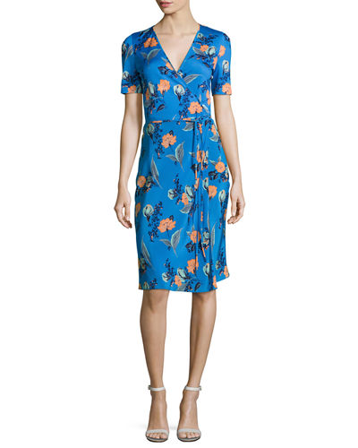 Short-Sleeve Floral-Print Wrap Dress