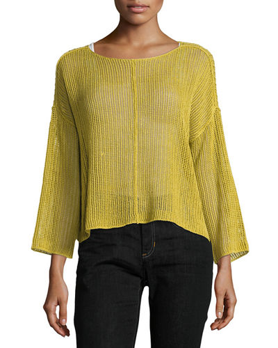 Bracelet-Sleeve Knit Mesh Top, Plus Size