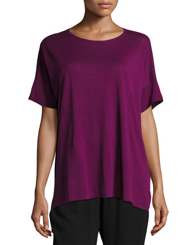 Eileen Fisher Fine Silk/Linen Round-Neck Tunic