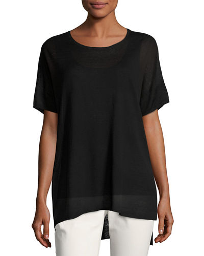 Eileen Fisher Fine Silk/Linen Round-Neck Tunic, Plus Size