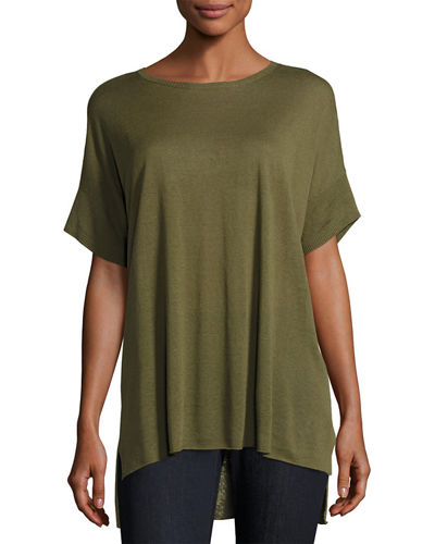 Fine Silk/Linen Round-Neck Tunic, Plus Size
