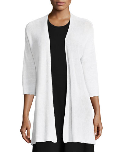 3/4-Sleeve Organic Linen Links Cardigan