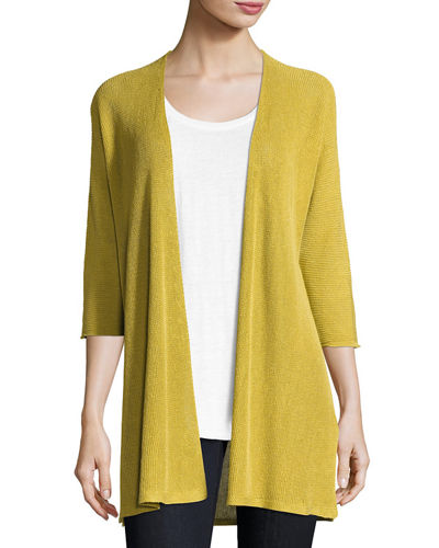 3/4-Sleeve Organic Linen Links Cardigan, Plus Size