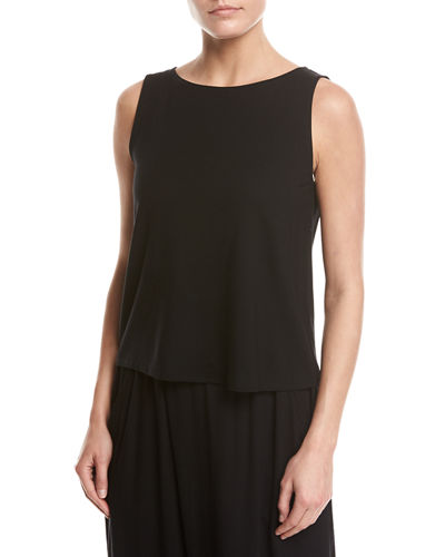 Eileen Fisher Sleeveless Bateau-Neck Jersey Shell