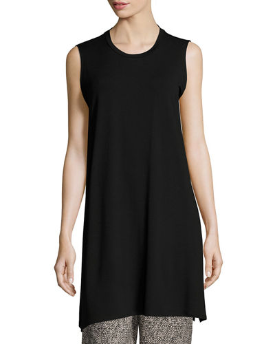 Sleeveless Long Lightweight Jersey Tunic, Petite