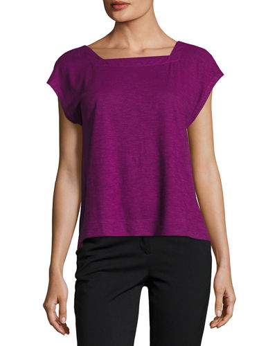 Eileen Fisher Hemp/Cotton Twist Cropped Top, Petite
