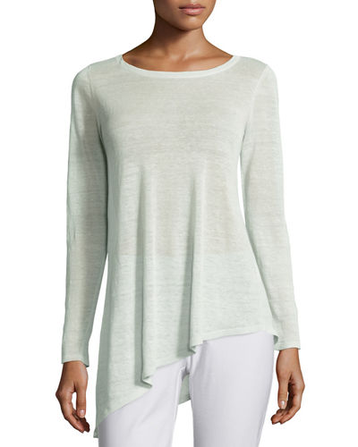 Eileen Fisher Long-Sleeve Sheer Crepe Asymmetric Tunic