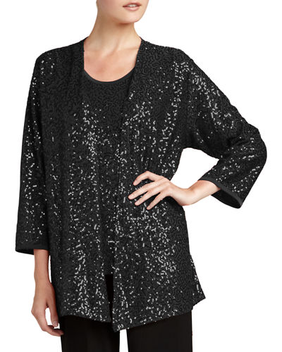 Sequined Open Jacket, Black