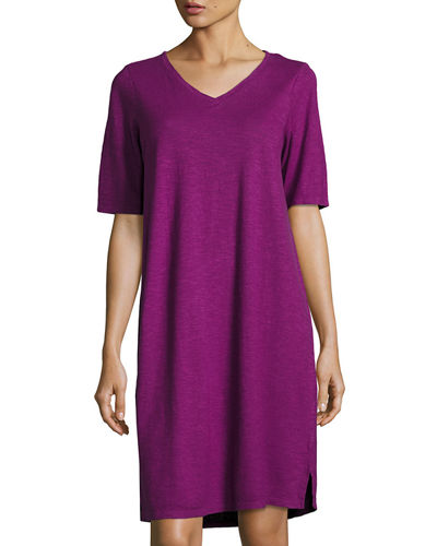 V-Neck Jersey Shift Dress
