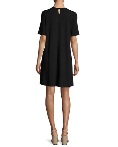 Round-Neck Jersey Shift Dress