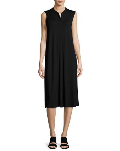 Sleeveless Button-Front Jersey Dress, Plus Size