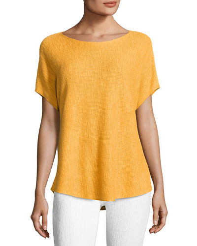Short-Sleeve Boat-Neck Linen/Cotton Box Top, Plus Size
