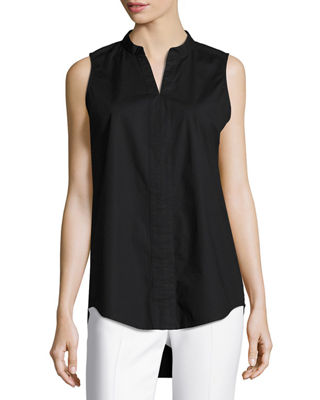 Eileen Fisher Sleeveless Organic Stretch Poplin Tunic, Plus Size