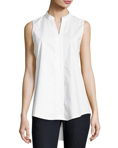 Eileen Fisher Sleeveless Organic Stretch Poplin Tunic, Plus
