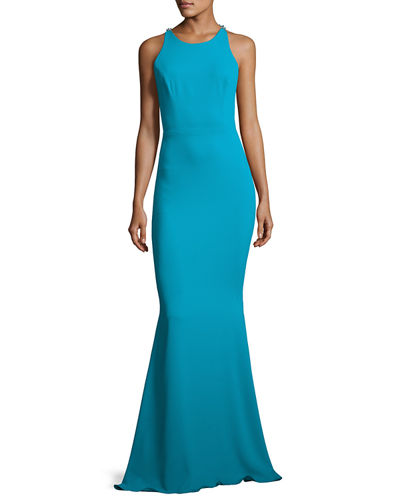 Marchesa Notte Sleeveless Stretch Crepe Beaded-Back Gown