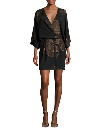 Kimono-Sleeve Faux-Wrap Printed Dress