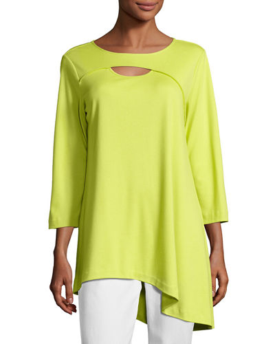 Yoke-Cutout Asymmetric Easy Tunic, Petite