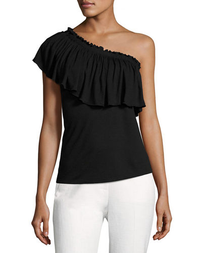 One-Shoulder Ruffled Jersey Top, Black
