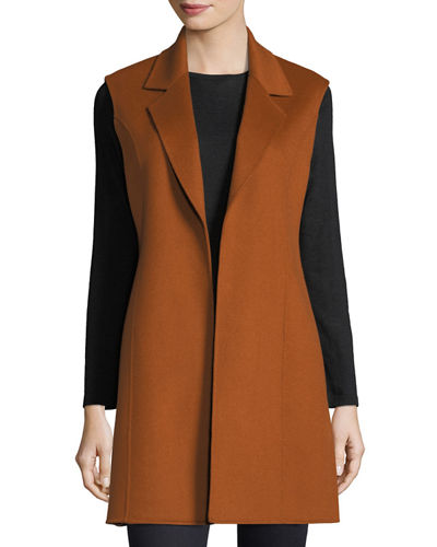Notched Double-Face Cashmere Vest