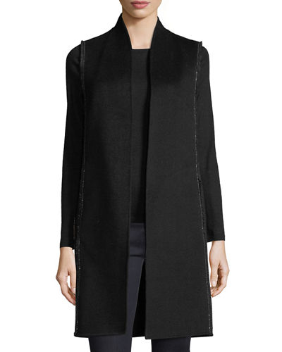 Chain-Trim Double-Face Cashmere Vest