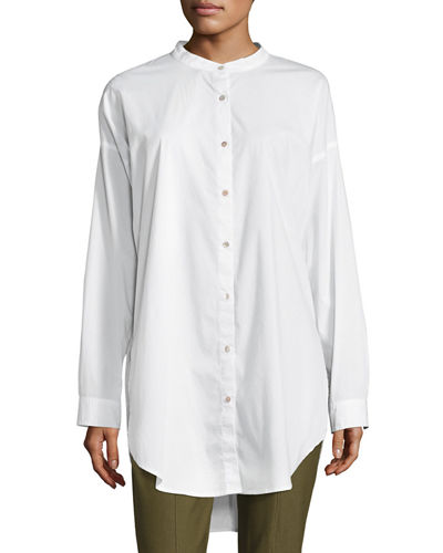 Mandarin-Collar Stretch-Lawn Button-Front Shirt, Petite