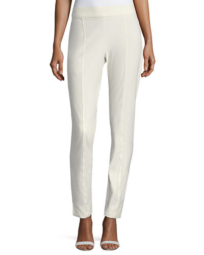 Washable Crepe Slim-Leg Pants, Plus Size