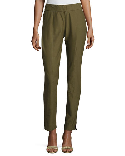 Eileen Fisher Washable Crepe Slim-Leg Pants, Plus Size