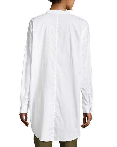 Mandarin-Collar Stretch-Lawn Button-Front Shirt, Plus Size
