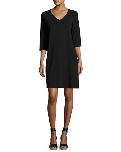 3/4-Sleeve V-Neck Jersey Shift Dress, Petite