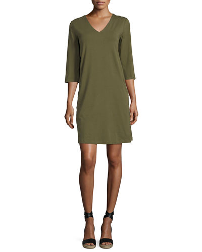 Eileen Fisher 3/4-Sleeve V-Neck Jersey Shift Dress, Petite