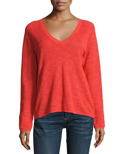 V-Neck Organic Linen/Cotton-Blend Slub Top, Plus Size