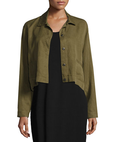 Eileen Fisher Lightweight Cropped Button-Front Jacket