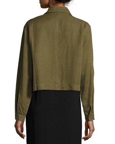 Lightweight Cropped Button-Front Jacket, Petite