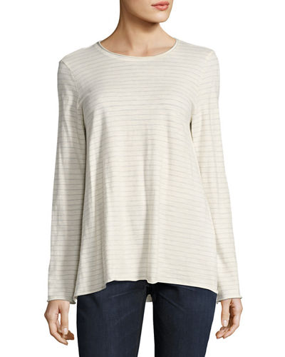 Eileen Fisher Lightweight Striped Organic Cotton Jersey Top