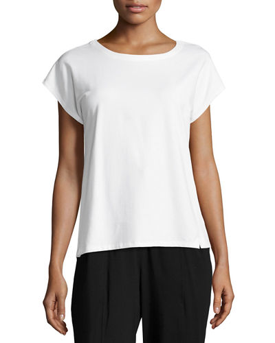 Short-Sleeve Bateau-Neck Jersey Top