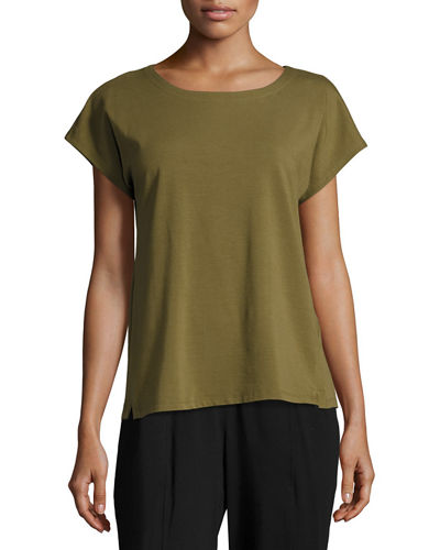Eileen Fisher Short-Sleeve Bateau-Neck Jersey Top, Petite