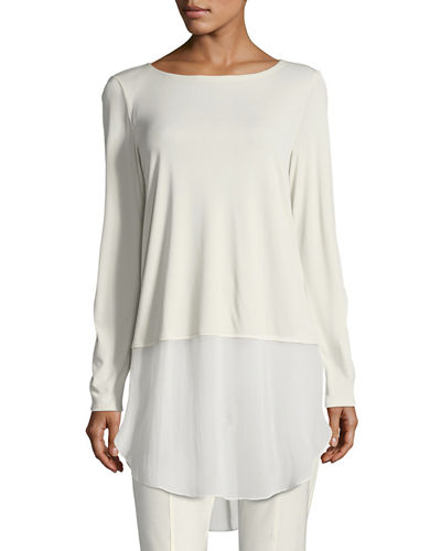 Long-Sleeve Silk Jersey Tunic w/ Sheer Layer, Plus Size