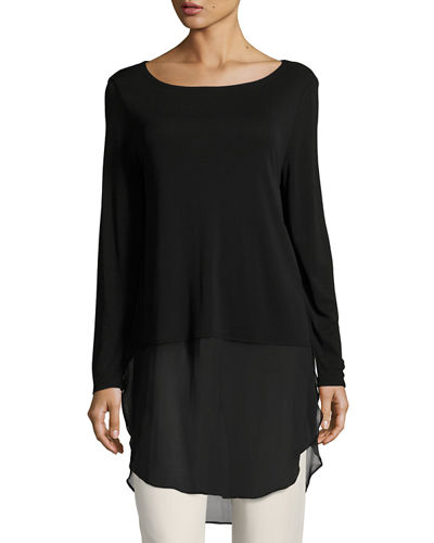Long-Sleeve Silk Jersey Tunic w/ Sheer Layer, Petite