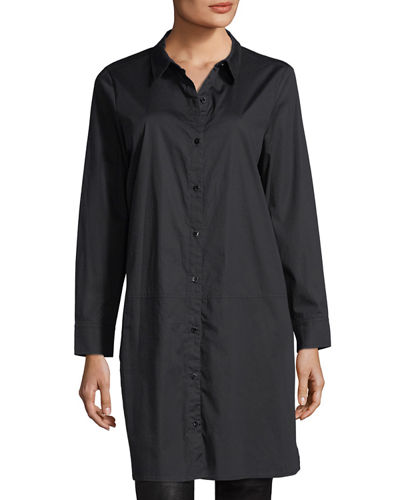 Long-Sleeve Stretch-Cotton Lawn Shirtdress