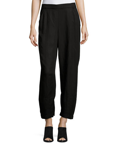 Linen-Blend Lantern Ankle Pants, Plus Size