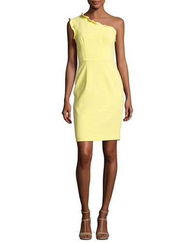 Pravella One-Shoulder Ponte Cocktail Dress, Daisy