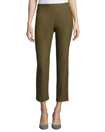 Washable Crepe Slim-Leg Ankle Pants